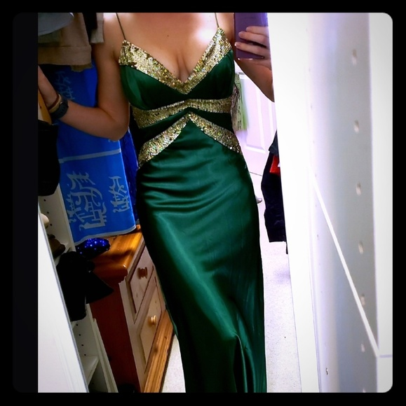 311fcb542be31 Emerald Green & Gold Gown